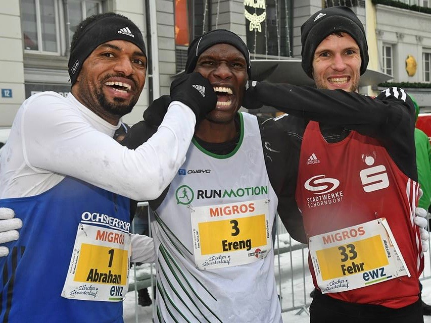 Tadesse Abraham, Patrick Ereng, Marcel Fehr (Photo: Zürcher Silvesterlauf)