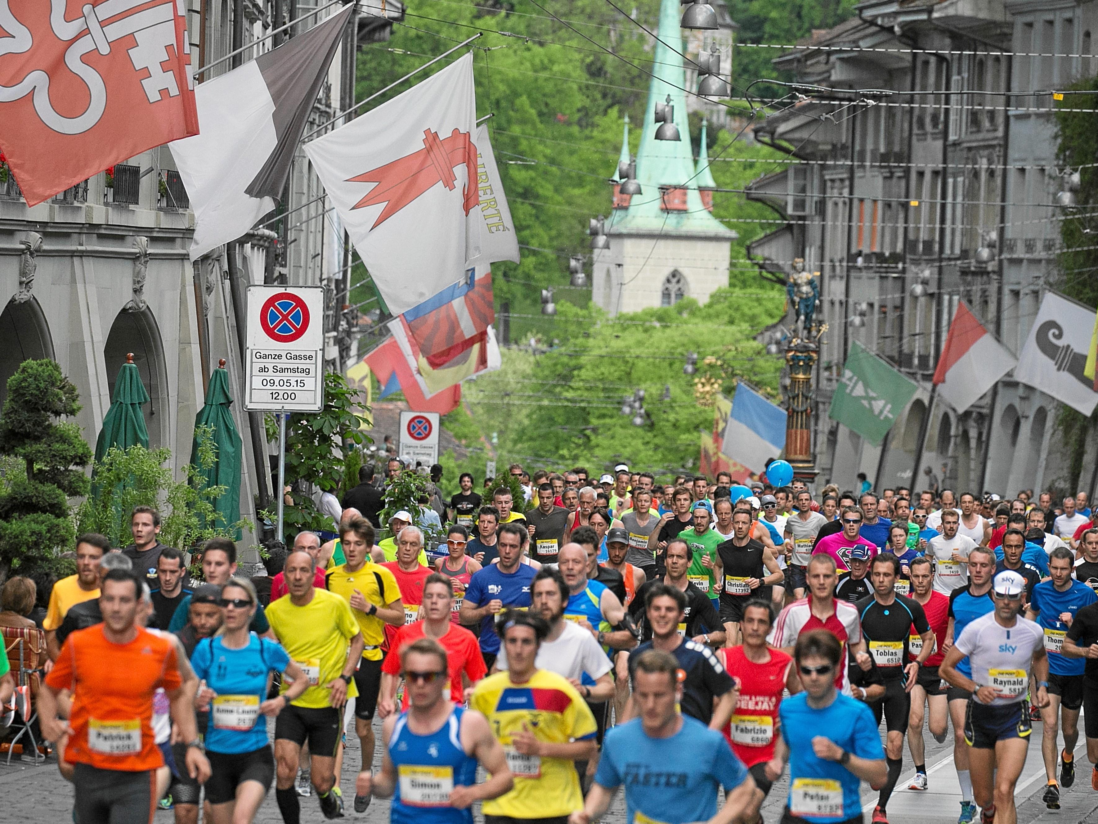 BERN, 09MAI15 - Lauf durch die historische Berner Altstadt, eine einmalige Kulisse mit Weltruf. Impression vom 34. Grand-Prix von Bern am 9. Mai 2015. Impression of the 34th Grand Prix of Bern, a popular race through the old town of Bern, Switzerland, May 9, 2015. More than 31 000 runners take part in the GP Bern 2015.