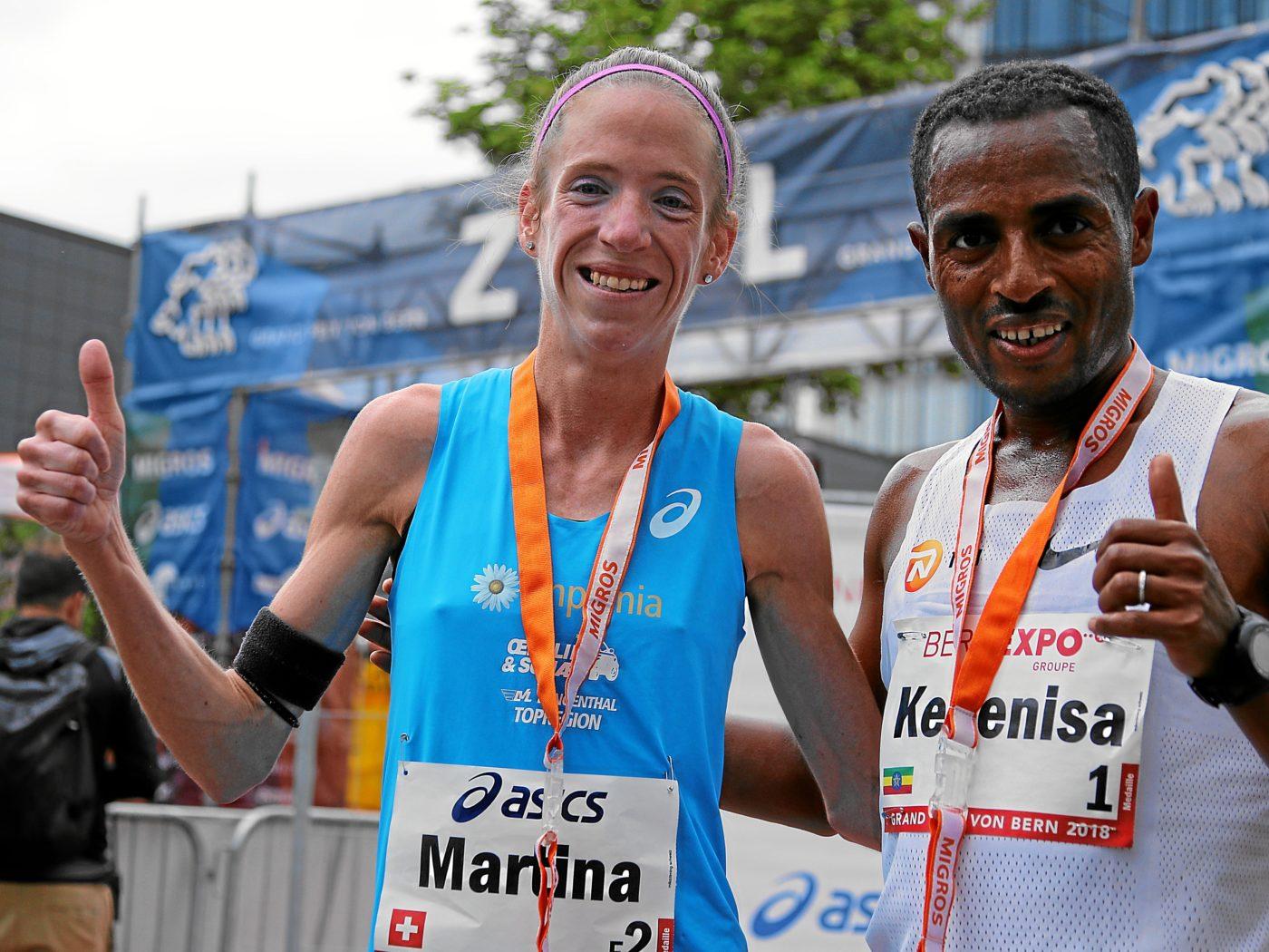 Martina Strähl, Kenenisa Bekele (Photo: swiss-image.ch)